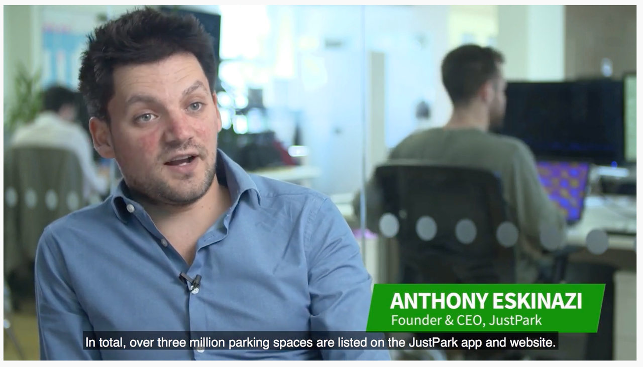 Anthony Eskinazi, CEO of JustPark, being interviewed on camera